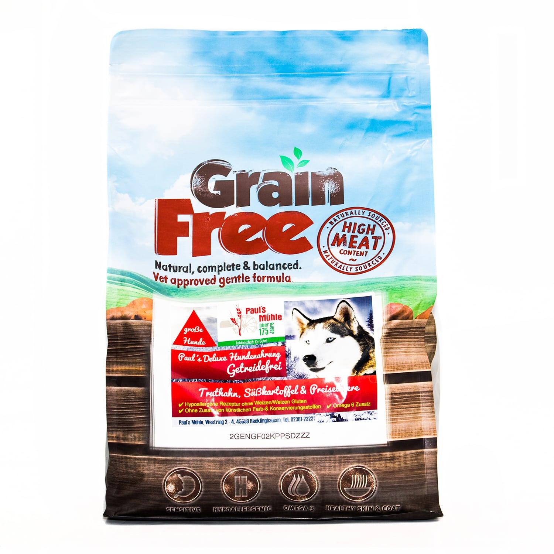Pauls Deluxe Grain Free für Hunde großer Rassen mit Truthahn ...