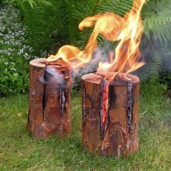 Original Schwedenfeuer, 3 Riesen-Fackeln Höhe 50 cm