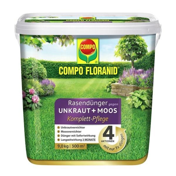 COMPO FLORANID® Rasendünger gegen Unkraut + Moos Komplettpflege 9 kg / 300 m² Eimer
