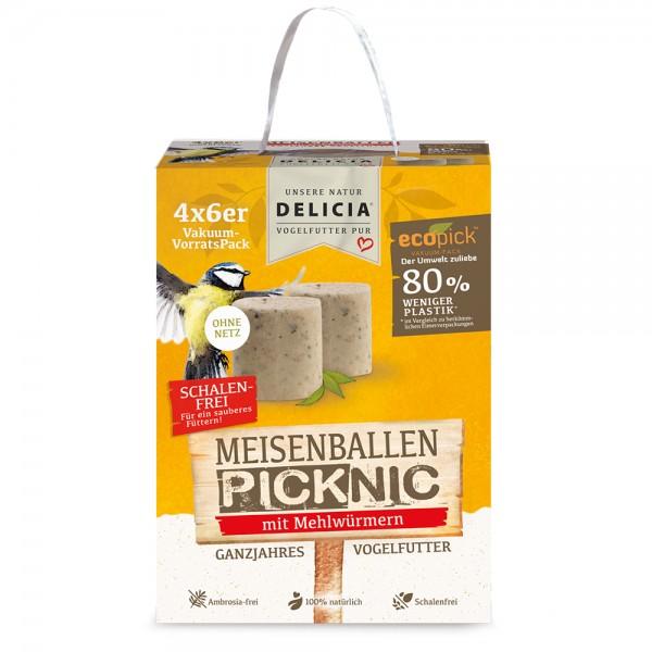 DELICIA ® Meisenballen Picknic mit Mehlwürmern ohne Netz 4 x 6 Stück