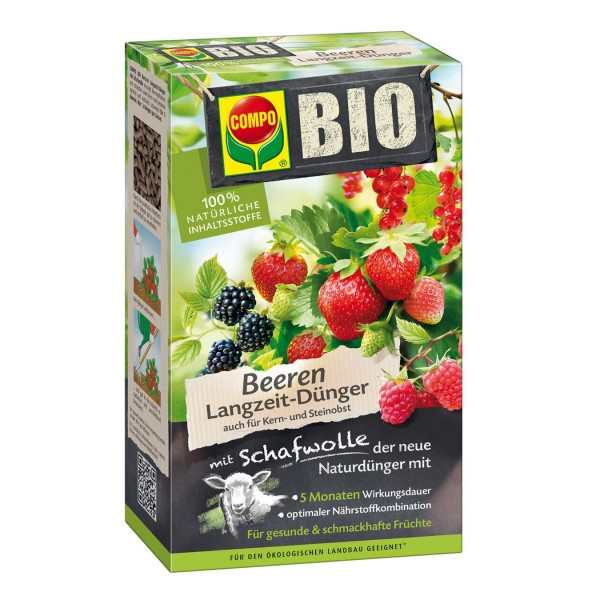 COMPO BIO Beeren Langzeit-Dünger mit Schafwolle 750 g Schachtel