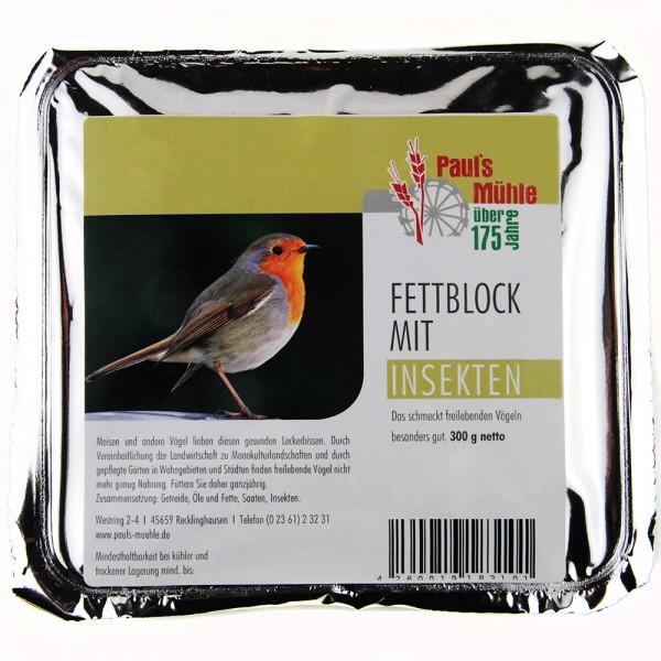 Pauls Mühle Fettblock mit Insekten (Vogelbuffet) 300 g