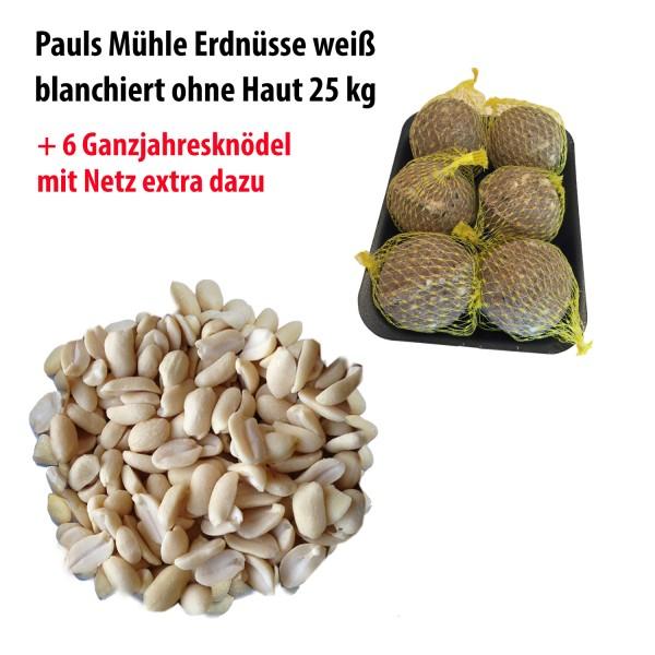 Pauls Mühle Erdnüsse weiss blanchiert ohne Haut 25 kg + Ganzjahresknödel mit Netz 6 Stück extra dazu