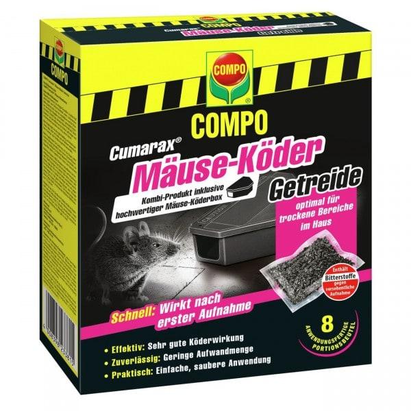 COMPO Cumarax® Mäuse-Köder Getreide 80 g + Köderbox