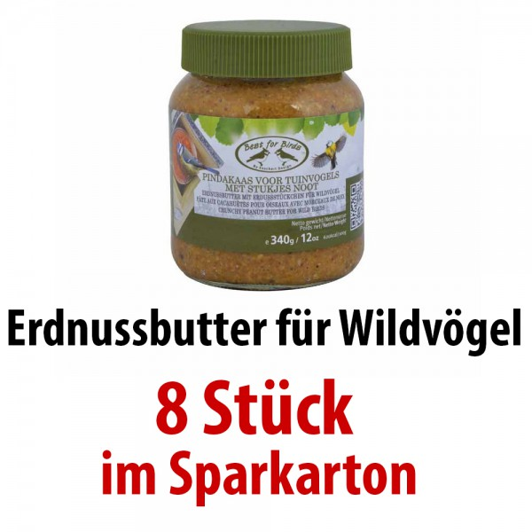 FB261 Erdnussbutter für Wildvögel kalorienreich 8 Gläser im SPARKARTON je 340 g