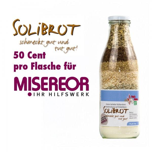 Spenden-Aktion SOLIBROT: Pauls Mühle Dinkel-Brotmischung in der Flasche, 725 Gramm