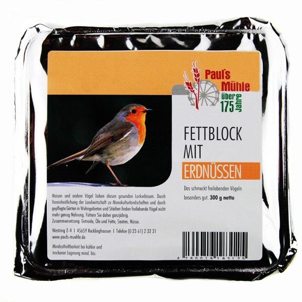 Pauls Mühle Fettblock mit Erdnüssen (Vogelbuffet) 300 g